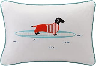 HipStyle HPS30-0020 Oscar Surfboard Dog Appliqued Cotton Oblong Pillow 14x20 Aqua