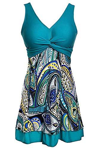 Ecupper Damen Badekleid Gepolstert Badeanzug mit Shorts Einteiler Blumen Muster Schwimmkleid Große Größen Grün XL