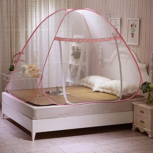 Crystallly Pop Up Mücken Zelt Für Betten Gegen Mückenstiche Faltbar Mit Einfacher Stil Netzboden Für Babys Und Erwachsene Östliches Mittelmeer Stil Süße Dekoration (Color : Rose, Size : 120 * 200Cm)