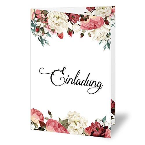 (10 x) Einladungskarten runder Geburtstag Blumen Rosen Edel Einladungen