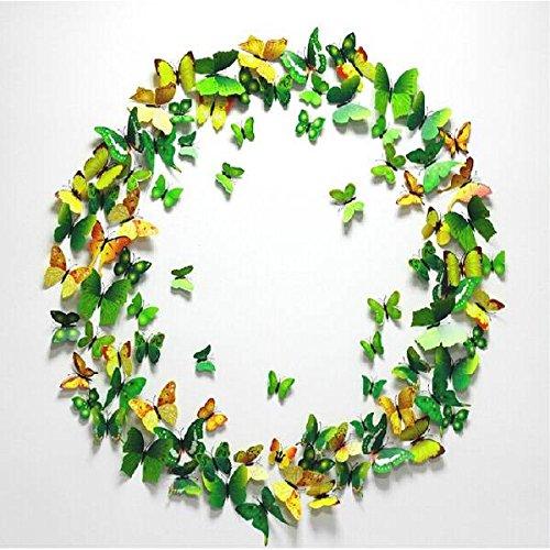 PhilMat 12pcs 3d mur papillon autocollants aimant pour la décoration