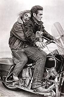 Buyartforless James Dean & Marilyn Monroe (Motorcycle) 24x36 Movie Art Print Poster Romantic