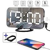 Despertador Digital Espejo LED Despertador Electrónico, Espejo Reloj Digital Moderno con Función de Alarma y Dual USB Puertos, Snooze y Memoria Automática, Luminancia Ajustable con 3 Niveles