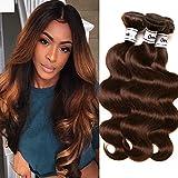 Ornate Hair Brown Bundles Human Hair Brazilian Bundles Body Wave 3 Bundles Light Brown Color #4 Unprocessed Virgin Brown Human Hair Weave Bundles Light Brown 9A Human Hair Extensions(12 14 16 Inch)