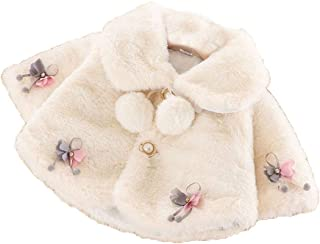 BigForest Baby Infant Girls Coat Faux Fur cape Cloak Jackets with flower Warm tops suit Outerwear Winter Clothes