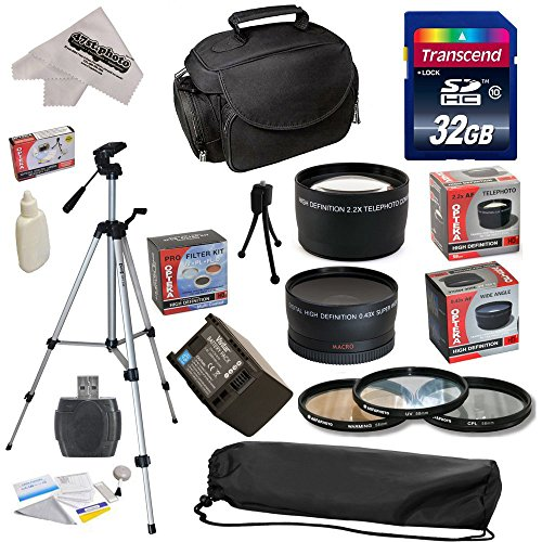 Ultimate Accessory Kit for Canon HF S10 S11 S20 S21 S30 S100 G10 G20 G25 HFS10 HFS11 HFS20 HFS21 HFS30 HFS100 HFG10 HFG20 HFG25 XA10 Video Camera Camcorder Includes - 32GB High-Speed SDHC Card + Card Reader + Vivitar 2000 mAh Replacement Battery for Canon BP819 BP-819 + 3 Piece Pro Filter Kit (UV, CPL, FLD) + 0.43x HD2 Wide Angle Panoramic Macro Fisheye Lens + 2.2x HD2 AF Telephoto Lens + Deluxe Padded Carrying Case + Professional 54' Tripod + Lens Cleaning Kit including LCD Screen Protectors