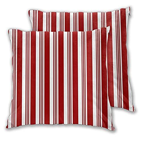 BROWCIN 2 Pack Funda de Almohada Resumen patrón de bastón de Caramelo de Rayas Rojas y Blancas Navidad Lino Suave Cuadrado Sofá Cama Decoración Hogar para Cojín 45cm x 45cm