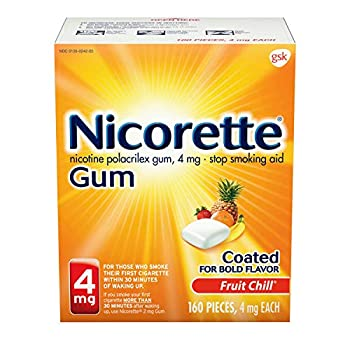 Nicorette Nicotine Gum to Quit Smoking 4 mg each Fruit Chill 160 Count