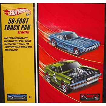 Hot Wheels 50-Foot Track Pak Raceway w/ 2 Collectible 1:64 Scale Die Cast Cars: Red Firebird & Blue '67 Dodge Charger w/ Redline Tires