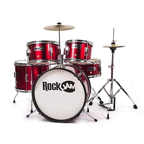 RockJam komplette 5-teiliges Junior Drum Set mit Becken, Drumsticks, Einstellbarer Thron und Zubehör - Red