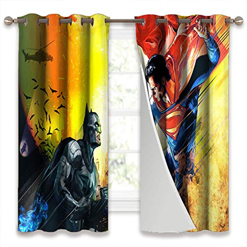 SSKJTC Thermal Insulated Blackout Curtains for Bedroom Batman Vs Superman Art Drapes for Kid's Room W55xL39 Inch