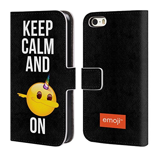 Head Case Designs Oficial Emoji Dab On Sé un Unicornio Carcasa de Cuero Tipo Libro Compatible con Apple iPhone 5 / iPhone 5s / iPhone SE 2016