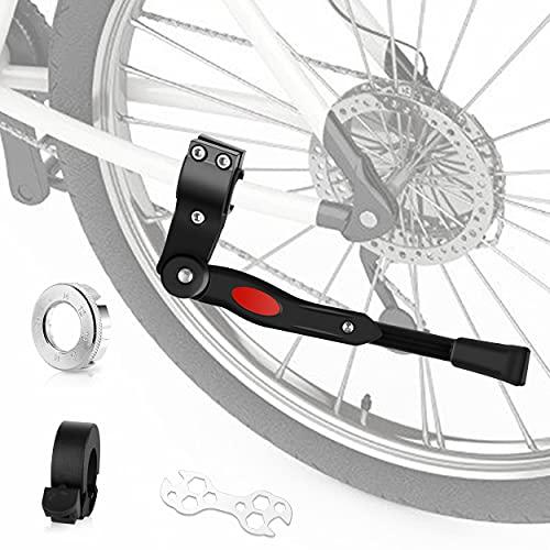 Tuonitaiji Fahrradständer, für 24-28 Zoll Höhenverstellbar Fahrrad Seitenständer und Hergeben Fahrradklingel Aluminiumlegierung mit Anti-Rutsch Gummifuß für MTB/Mountainbike/Rennrad/Faltbar Fahrrad