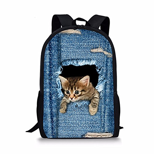 Nopersonality Cat Bagpack Cute Kitty Backpack for Kids Children School Bookbags Blue