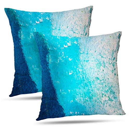 Alricc Colorful Cobalt Blue Watercolor Color Pillow Cover, Abstract Art Grunge Decorative Throw Pillows Cushion Cover for Bedroom Sofa Living Room 18 x 18 Inch Set of 2