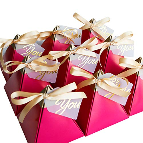 ruiruiNIE 50pcsRose Red Triangular Pyramid Sweet Candy Box Hochzeitsbevorzugungen Papier Geschenkboxen