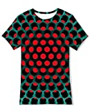 uideazone Teens Boys Grils 3D Geometric Printed Short Sleeve T Shirt Novelty Cool Crew Neck Tee Shirt Top 13-14 Years