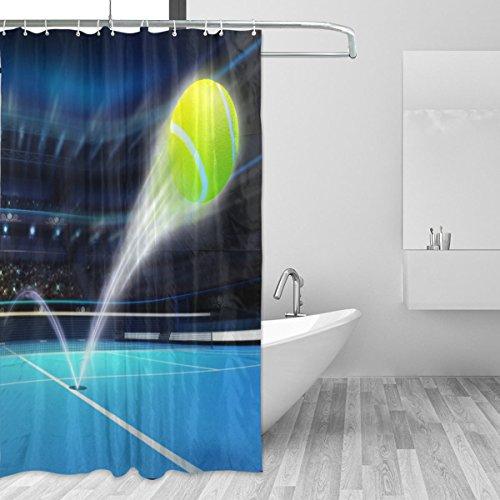 JSTEL Tennisball Ace Duschvorhang, schimmelresistent & wasserdicht, Polyestergewebe, 182,9 x 183,9 cm, für Zuhause, extra lang, dekorativ, mit 12 Haken