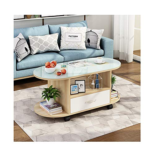 QULONG Modern Oval Coffee Table, Simple Living Room Small Table Coffee Tables, Multi-Functional Creative Coffee Table with Glass Storage Shelf, 5 Colors,lightwalnut