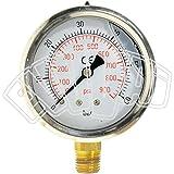 """0 - 60bares-1/4"""" - Diámetro:63mm.Manómetro de glicerina para medir la presión."""