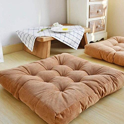 WHZG Chair Pad Tufted Corduroy Tatami Floor Pad,Square Floor Pillows Seat Cushions,Soft Thicken Yoga Meditation Cushion,Chair Pad for Adults & Kids Chair Cushion