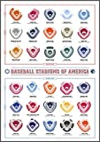 Baseball Stadiums Scratch Off Map   Team Colors of All American & National Team Ballparks   MLB Ballpark Wall Poster, Bucket List & Visited Parks Tracker   Baseball Enthusiasts & Sport Fans Gift