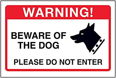 Caution Guard dogs Pack of 6 Rigid Plastic Each sign is 100mm x 150mm