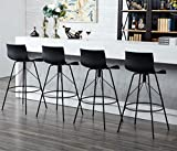 Swivel Barstools with Backs Plastic Counter Height Bar Stools Set of 4 with Metal Legs 30' Black