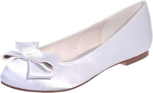 LHWAN Personalizado hecho a mano boda arco satinado Ballet schuhe planos cerrado Toe damenes pisos