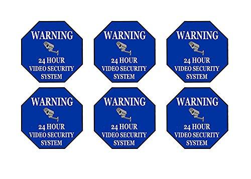 6 Pack Waarschuwing Beveiliging Video Camera Bewaking Toezicht 24 uur teken Sticker Decal Window Deur Indoor Outdoor 3x3 Inch