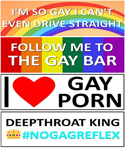 Funny Gay Bumper Magnet Stickers - Reusable and Great for Gags, Jokes, Gifts - Set of 4 Prank...
