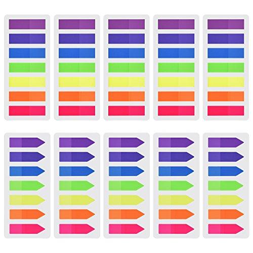 2x 200 = 400 Stück Haftmarker Index Marker Haftnotizen Lineal Neon Lesezeichen
