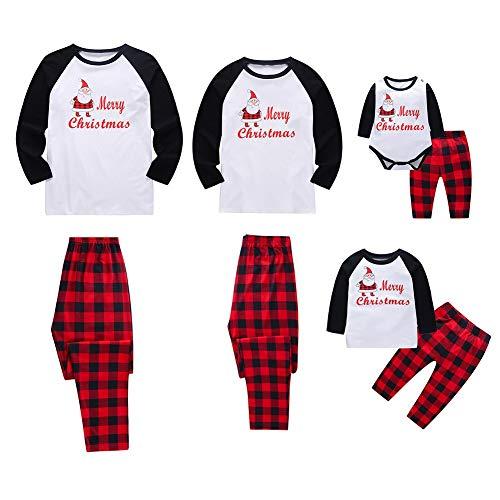 Miyanuby Pijamas de Navidad Familia Pijamas Navideñas Pijama Mujer/Pijama Hombre/Pijamas Bebe Niños Niña Manga...
