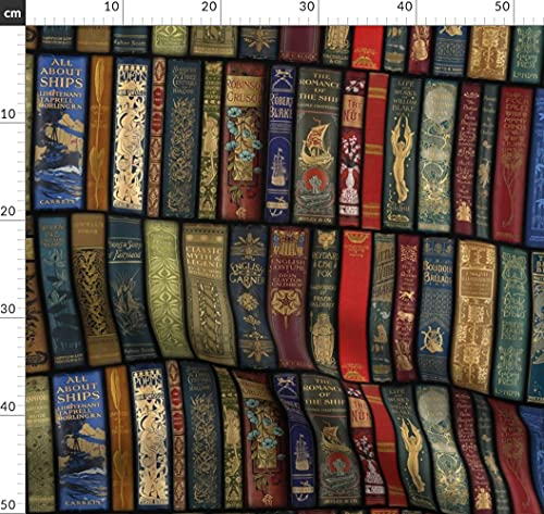 Spoonflower Fabric - Books Library Photographic Hygge Book Printed on Fleece Fabric by The Metre Sewing Blankets Loungewear and No-Sew Projects