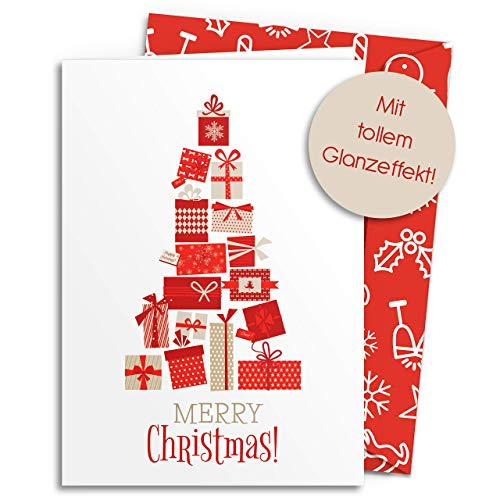 20 Weihnachtskarten mit GLANZEFFEKT inkl. farbigen Umschlägen | Merry Christmas | Für Familie, Freunde & geschäftlich | edel modern einfach & schlicht Klappkarten mit Umschlag Set Rot 2019 Design