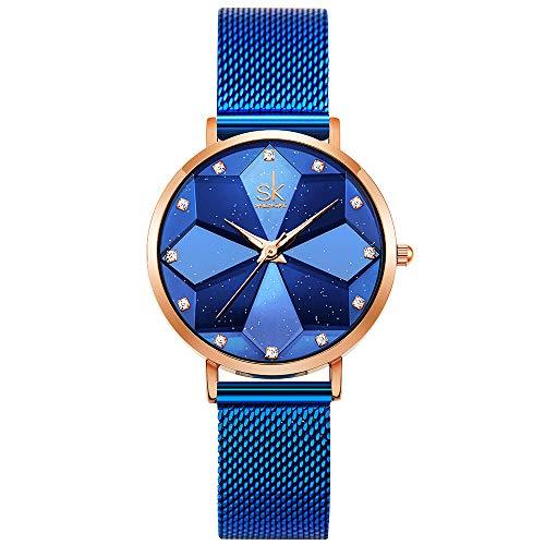 SHENGKE Estrella Reloj de Pulsera para Mujer, Correa de Malla, Elegante, para Mujer, Estilo Simplicidad,Flores(Starry-Mesh Band-Blue)