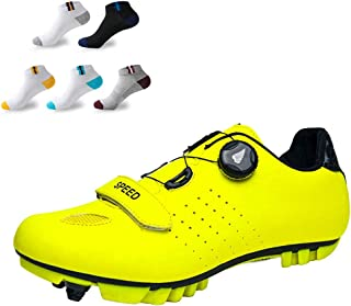 OneChange Men's Cycling Shoes, Unisex Adults' Mountain Bike Shoes Breathable Nylon Pro Cycling Lock Shoes with 5 Pairs Sports Socks (Color : Yellow, Size : 37EU)