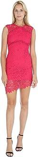 bebe Women's Sleeveless with Illusion in Top Yoke & Bottom Hem Lace Short Dress