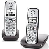 Gigaset E310 Duo Telefon - Schnurlostelefon / 2 Mobilteile - Grafik Display - Grosse Tasten Telefon - Freisprechfunktion - Analog Telefon - Anthrazit/silber