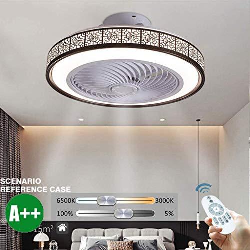 OUJIE Deckenventilator Mit Beleuchtung, 72W LED-Ventilator Mit Fernbedienung, Einstellbare Windgeschwindigkeit Und Dimming Ultra-Quiet Deckenventilator Licht,Braun