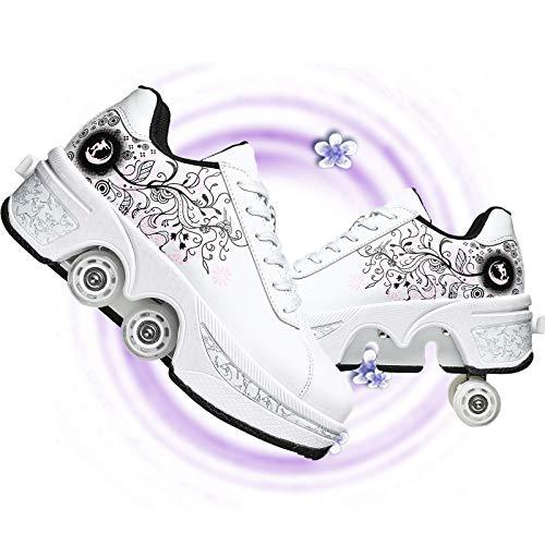 NNZZY Rollschuh Roller Skates Lauflernschuhe,Sneakers,2In1 Mehrzweckschuhe Schuhe Mit Rollen Skateboardschuhe,Inline-Skate,Verstellbare Quad-Rollschuh Stiefel Skateboardschuhe,White pink,39
