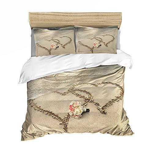 ADTT Juego de ropa de cama - Funda de edredón para playa de arena de verano, juego de funda de edredón de olas de playa, juego de cama de tamaño completo, para colchas de niños