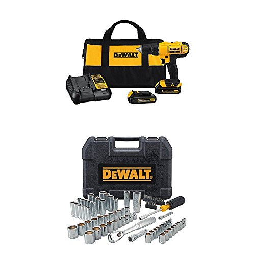 DEWALT 20V MAX Cordless Drill / Driver Kit, 1/2-Inch with Mechanics Tool Set, 84-Piece (DCD771C2 & DWMT81531)