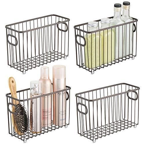 mDesign Metal Bathroom Storage Organizer Basket Bin - Farmhouse Wire Grid Design - for Cabinets, Shelves, Closets, Vanity Countertops, Bedrooms, Under Sinks - Small, 4 Pack - Bronze