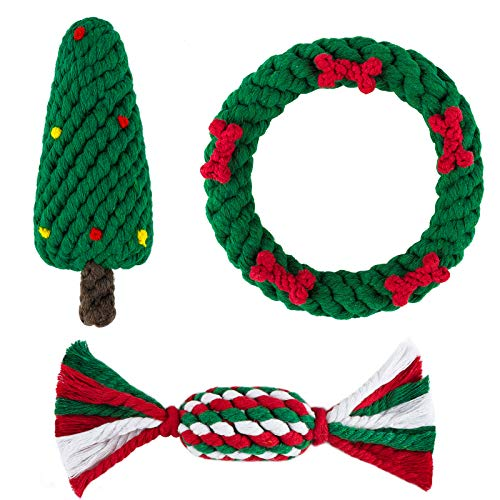 Aneco 3 Pack Pet Chew Toys Christmas Tree Shape Knotted Rope Chew Toys Christmas Wreath Chew Toys, Assorted Styles Pet Chew Training Toys for Christmas Favors