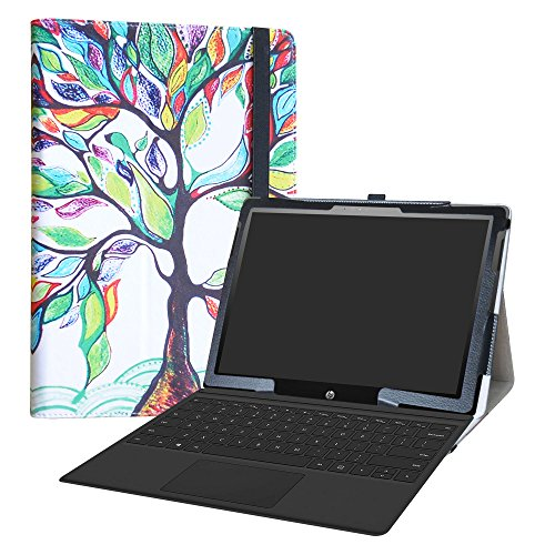 HP Chromebook x2 Tablet Funda,LiuShan Folio Soporte PU Cuero con Funda Caso para 12.3' HP Chromebook x2 12-fXXX Series 2-in-1 Tablet (Tales como 12-f014dx) Android Tablet,Love Tree