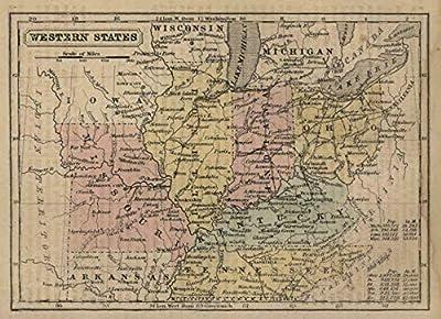 Ohio Indiana Illinois Kentucky Tenessee Missouri c. 1855 Boynton miniature map