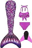 Decool - Traje de baño para niña con cola de sirena. Cosplay de princesa para nadar, juego con bikini y aleta, juego de 4 piezas PS15 140/150 cm