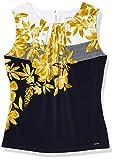 Calvin Klein Women's Pleat Neck Cami, Navy/Ochre, Large