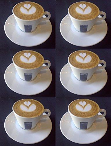 6 X Lavazza 5.5oz Cappuccino Porzellan Tassen und Untertassen.